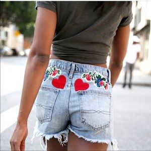 Lucky Brand Embroidered Vintage Jean Shorts